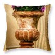 Urn With Purple Flowers Throw Pillow