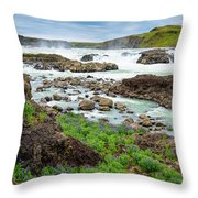 Urridafoss Waterfall And River Pjorsa In Iceland Throw Pillow