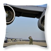 U.s. Air Force Crew Chief Performs Throw Pillow