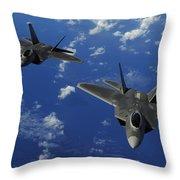 U.s. Air Force F-22 Raptors In Flight Throw Pillow