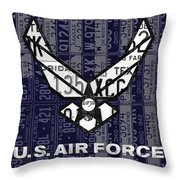 Us Air Force Logo Recycled Vintage License Plate Art Throw Pillow