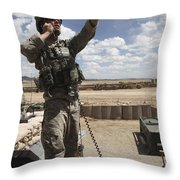 U.s. Air Force Member Calls For Air Throw Pillow by Stocktrek Images