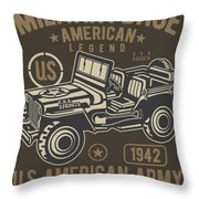 Us American Amry Jeep Throw Pillow