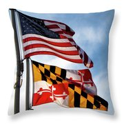 Us And Maryland Flags Throw Pillow