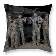 U.s. Army Crew Chiefs Pose In Front Throw Pillow