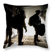 U.s. Army Green Berets Wait To Jump Throw Pillow