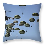 U.s. Army Paratroopers Jumping Throw Pillow