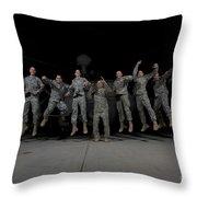 U.s. Army Pilots & Crew Chiefs Jump Throw Pillow