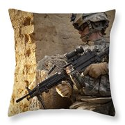 U.s. Army Ranger In Afghanistan Combat Throw Pillow by Tom Weber