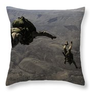U.s. Army Soldiers Conduct A Halo Jump Throw Pillow