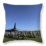 U.s. Army Soldiers Conduct Pre-jump Throw Pillow