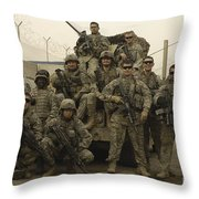 U.s. Army Soldiers Pose For A Photo Throw Pillow