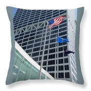 Us Bank With Flags Throw Pillow