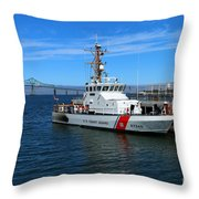 Us Coast Guard On Columbia River Throw Pillow