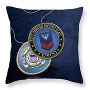 U.s. Coast Guard Petty Officer Second Class - Uscg Po2 Rank Insignia Over Blue Velvet Throw Pillow