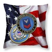 U. S. Coast Guard Petty Officer Second Class - Uscg Po2 Rank Insignia Over Us Flag Throw Pillow