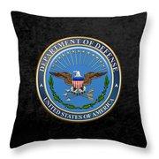 U. S. Department Of Defense - D O D Emblem Over Black Velvet Throw Pillow