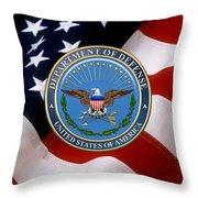 U. S. Department Of Defense - D O D Emblem Over U. S. Flag Throw Pillow