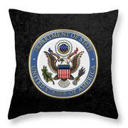 U. S. Department Of State - Dos Emblem Over Black Velvet Throw Pillow