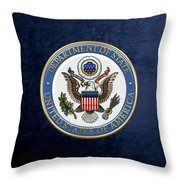 U. S. Department Of State - D O S Emblem Over Blue Velvet Throw Pillow