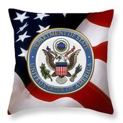 U. S. Department Of State - Dos Emblem Over U.s. Flag Throw Pillow