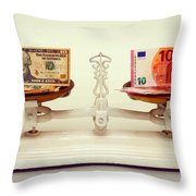 U.s. Dollar And Euro Banknotes On A Pair Of Scales In Vienna Throw Pillow