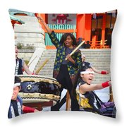 U.s. First Lady Michelle Obama  Plays The Taiko Drum  Throw Pillow