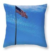 Us Flag At Liberty Island Throw Pillow