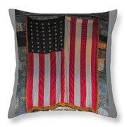 Us Flag At Whiteface Mountain Ny Throw Pillow
