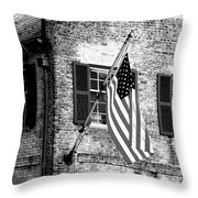 Us Flag In Colonial Williamsbug Throw Pillow