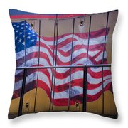 Us Flag On Side Of Freight Engine Throw Pillow