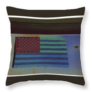 Us Flag On Wall Casa Grande Arizona 2004-2008 Throw Pillow