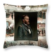 Us Grant's Career In Pictures Throw Pillow