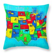 Us Map With Theme  - Free Style -  - Pa Throw Pillow