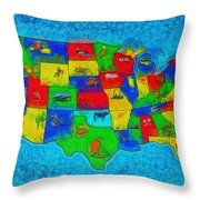 Us Map With Theme  - Special Finishing -  - Pa Throw Pillow