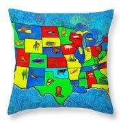 Us Map With Theme  - Van Gogh Style -  - Da Throw Pillow