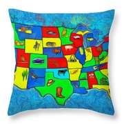 Us Map With Theme  - Van Gogh Style -  - Pa Throw Pillow
