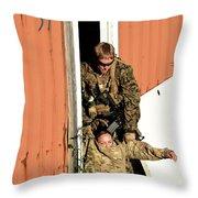 U.s. Marine Drags An Injured Patient Throw Pillow