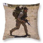 U.s. Marine Runs To The Uh-60 Black Throw Pillow
