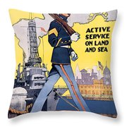 U.s. Marines Active Service On Land And Sea Throw Pillow