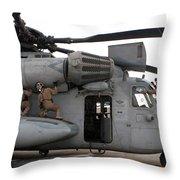 U.s. Marines Perform Preflight Checks Throw Pillow