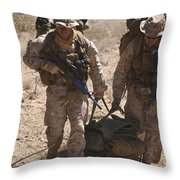 U.s. Marines Prepare To Board A Uh-60 Throw Pillow