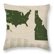 Us National Parks - Idaho Throw Pillow