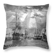 U.s. Naval Ships At The Brooklyn Navy Yard Throw Pillow