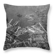 U.s. Naval Yard In Brooklyn Ny Photograph - 1932 Throw Pillow