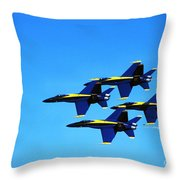 Us Navy Blue Angels Flight Demonstration Team In Fa 18 Hornets Throw Pillow