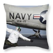 U.s. Navy Sailors Give The Thumbs Throw Pillow by Stocktrek Images