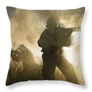 U.s. Navy Seals During A Combat Scene Throw Pillow
