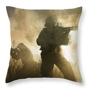 U.s. Navy Seals During A Combat Scene Throw Pillow by Tom Weber