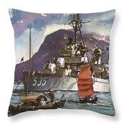 U.s. Navy Travel Poster Throw Pillow